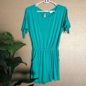 Kaileigh Turquoise Shorts Romper